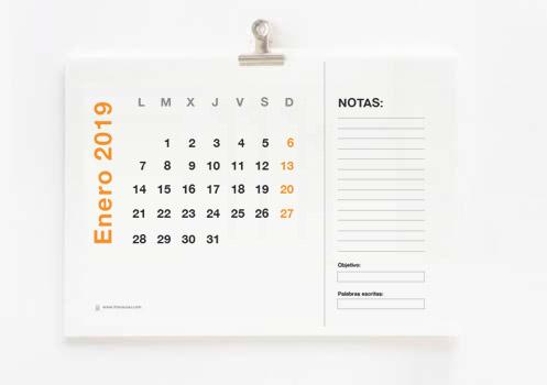 Calendario para escritores 2019