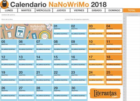 calendario-NaNoWriMo-2018