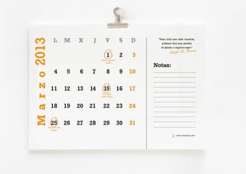 calendario para escritores 2013 interior