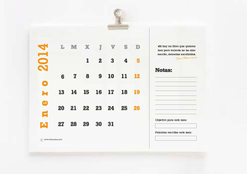 calendario 2014 para escritores