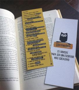 Marcapáginas con 23 trucos para ser un escritor más creativo